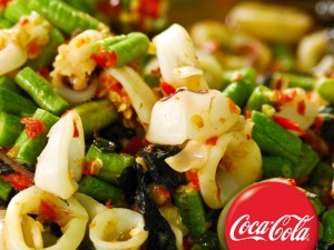 Calamari with eggplant and string beans